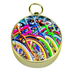 Colorful Bicycles In A Row Gold Compasses by FunnyCow