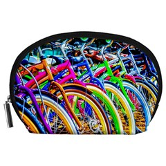 Colorful Bicycles In A Row Accessory Pouches (large)  by FunnyCow