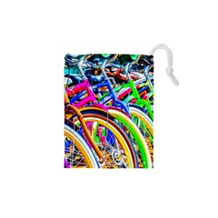 Colorful Bicycles In A Row Drawstring Pouches (xs)  by FunnyCow