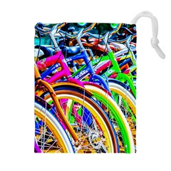 Colorful Bicycles In A Row Drawstring Pouches (extra Large) by FunnyCow