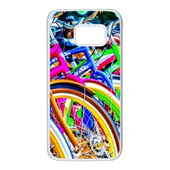 Colorful Bicycles In A Row Samsung Galaxy S7 White Seamless Case by FunnyCow
