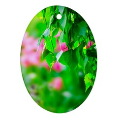 Green Birch Leaves, Pink Flowers Ornament (oval) by FunnyCow