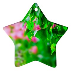 Green Birch Leaves, Pink Flowers Ornament (star) by FunnyCow