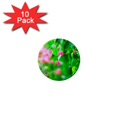 Green Birch Leaves, Pink Flowers 1  Mini Magnet (10 Pack)  by FunnyCow