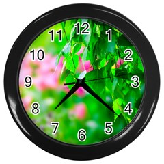 Green Birch Leaves, Pink Flowers Wall Clock (black) by FunnyCow