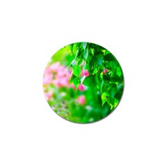 Green Birch Leaves, Pink Flowers Golf Ball Marker (4 Pack) by FunnyCow