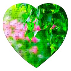 Green Birch Leaves, Pink Flowers Jigsaw Puzzle (heart) by FunnyCow
