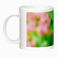 Green Birch Leaves, Pink Flowers Night Luminous Mugs by FunnyCow