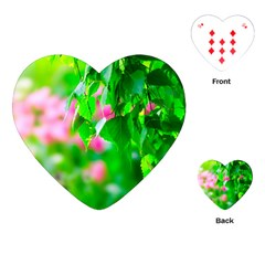 Green Birch Leaves, Pink Flowers Playing Cards (heart)  by FunnyCow