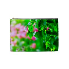 Green Birch Leaves, Pink Flowers Cosmetic Bag (medium) by FunnyCow
