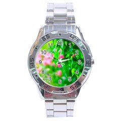 Green Birch Leaves, Pink Flowers Stainless Steel Analogue Watch by FunnyCow