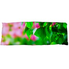Green Birch Leaves, Pink Flowers Body Pillow Case (dakimakura) by FunnyCow