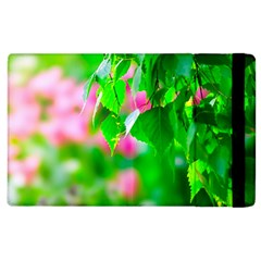 Green Birch Leaves, Pink Flowers Apple Ipad 2 Flip Case by FunnyCow