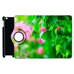 Green Birch Leaves, Pink Flowers Apple Ipad 2 Flip 360 Case by FunnyCow