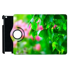 Green Birch Leaves, Pink Flowers Apple Ipad 3/4 Flip 360 Case by FunnyCow