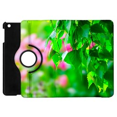 Green Birch Leaves, Pink Flowers Apple Ipad Mini Flip 360 Case by FunnyCow