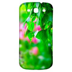 Green Birch Leaves, Pink Flowers Samsung Galaxy S3 S Iii Classic Hardshell Back Case by FunnyCow