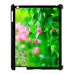 Green Birch Leaves, Pink Flowers Apple Ipad 3/4 Case (black) by FunnyCow