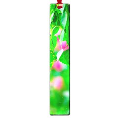 Green Birch Leaves, Pink Flowers Large Book Marks by FunnyCow