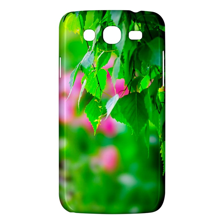 Green Birch Leaves, Pink Flowers Samsung Galaxy Mega 5.8 I9152 Hardshell Case