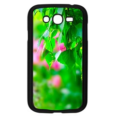 Green Birch Leaves, Pink Flowers Samsung Galaxy Grand Duos I9082 Case (black) by FunnyCow