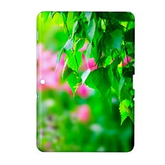 Green Birch Leaves, Pink Flowers Samsung Galaxy Tab 2 (10 1 ) P5100 Hardshell Case  by FunnyCow