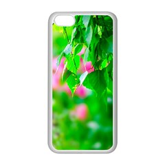 Green Birch Leaves, Pink Flowers Apple Iphone 5c Seamless Case (white) by FunnyCow