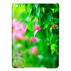 Green Birch Leaves, Pink Flowers Ipad Air Hardshell Cases by FunnyCow