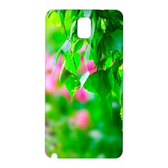Green Birch Leaves, Pink Flowers Samsung Galaxy Note 3 N9005 Hardshell Back Case by FunnyCow