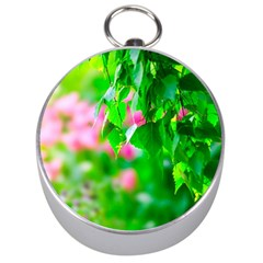 Green Birch Leaves, Pink Flowers Silver Compasses by FunnyCow