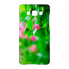 Green Birch Leaves, Pink Flowers Samsung Galaxy A5 Hardshell Case  by FunnyCow