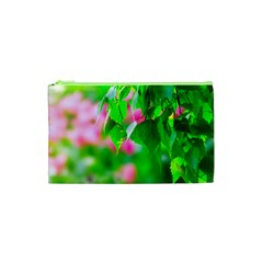 Green Birch Leaves, Pink Flowers Cosmetic Bag (xs) by FunnyCow