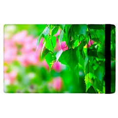 Green Birch Leaves, Pink Flowers Apple Ipad Pro 12 9   Flip Case by FunnyCow