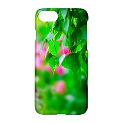 Green Birch Leaves, Pink Flowers Apple Iphone 7 Hardshell Case by FunnyCow