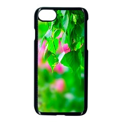 Green Birch Leaves, Pink Flowers Apple Iphone 7 Seamless Case (black) by FunnyCow