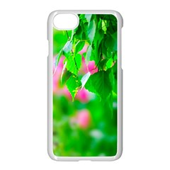 Green Birch Leaves, Pink Flowers Apple Iphone 7 Seamless Case (white) by FunnyCow