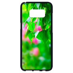 Green Birch Leaves, Pink Flowers Samsung Galaxy S8 Black Seamless Case by FunnyCow