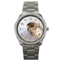 Funny Wet Sparrow Bird Sport Metal Watch by FunnyCow