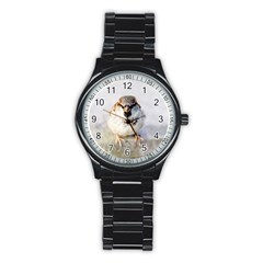 Do Not Mess With Sparrows Stainless Steel Round Watch by FunnyCow