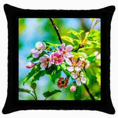 Crab Apple Flowers Throw Pillow Case (black) by FunnyCow