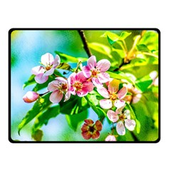 Crab Apple Flowers Fleece Blanket (small) by FunnyCow