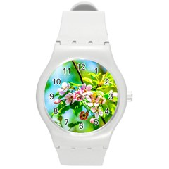 Crab Apple Flowers Round Plastic Sport Watch (m)
