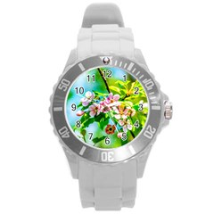 Crab Apple Flowers Round Plastic Sport Watch (l) by FunnyCow