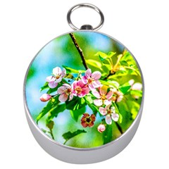 Crab Apple Flowers Silver Compasses by FunnyCow