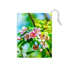 Crab Apple Flowers Drawstring Pouches (medium)  by FunnyCow