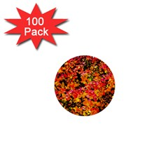 Orange, Yellow Cotoneaster Leaves In Autumn 1  Mini Buttons (100 Pack)  by FunnyCow