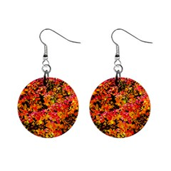 Orange, Yellow Cotoneaster Leaves In Autumn Mini Button Earrings by FunnyCow