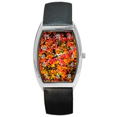 Orange, Yellow Cotoneaster Leaves In Autumn Barrel Style Metal Watch by FunnyCow
