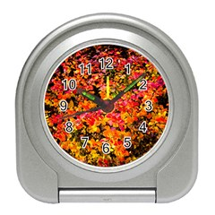Orange, Yellow Cotoneaster Leaves In Autumn Travel Alarm Clock by FunnyCow