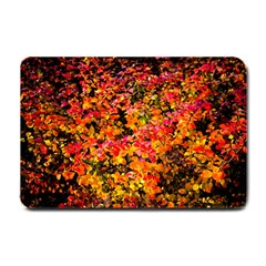 Orange, Yellow Cotoneaster Leaves In Autumn Small Doormat  by FunnyCow